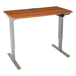 "Sit-to-Stand Electric Table w/ Silver Mist Frame & Laminate Top (24"" W x 48\"" L)  - Cherry"