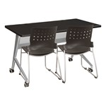 Heavy-Duty Mobile Computer Table & Stack Chair Bundle