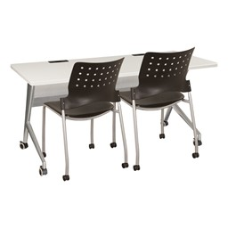 """Heavy-Duty Mobile Computer Table w/ Power & USB Option (24"""" W x 60"""" L) - Chairs not included"""