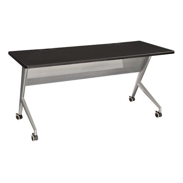 "Heavy-Duty Mobile Computer Table w/ Power & USB Option (24"" W x 60"" L) - Black"