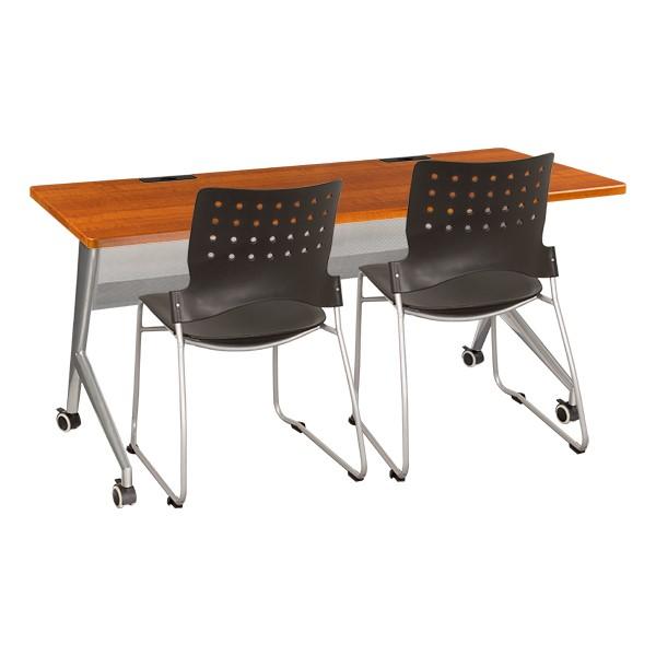 """Heavy-Duty Flipper Table & Stack Chair Bundle (24"""" W x 60"""" L)"""