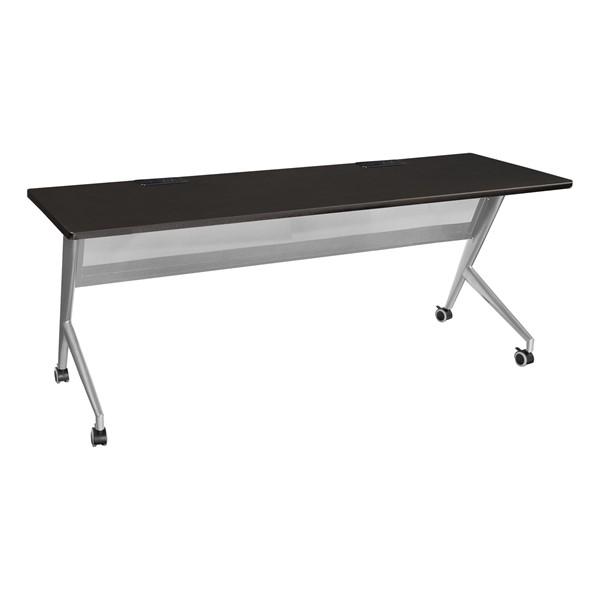 "Heavy-Duty Mobile Computer Table w/ Electric (24"" W x 72"" L) - Black"