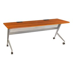 """Heavy-Duty Mobile Computer Table w/ Electric (24"""" W x 72"""" L) - Cherry"""