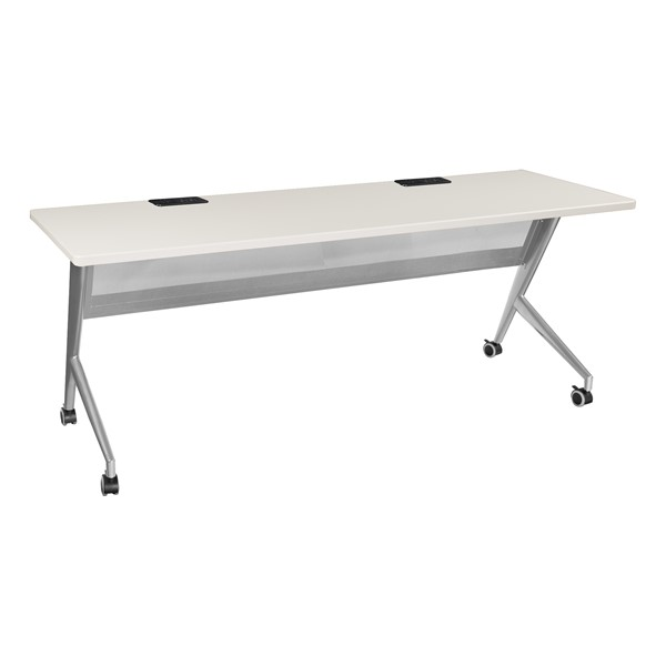 """Heavy-Duty Mobile Computer Table w/ Electric (24"""" W x 72"""" L) - Gray"""