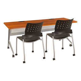 """Heavy-Duty Mobile Computer Table & Mobile Stack Chair Bundle (24\"""" W x 72\"""" L)"""