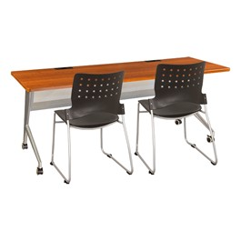 """Heavy-Duty Mobile Computer Table & Stack Chair Bundle (24\"""" W x 72\"""" L)"""