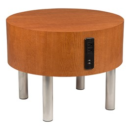 Learniture Round Side Table w Electrical Outlet USB at School