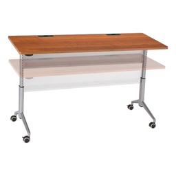 "Heavy-Duty Adjustable-Height Flipper Table (24"" W x 72"" L) - Adjustable, Cherry"