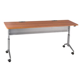 "Heavy-Duty Adjustable-Height Flipper Table (24"" W x 72\"" L) - Cherry"