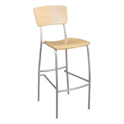 Round Pedestal Stool-Height Cafe Table and Wooden Cafe Chair Set - Chair