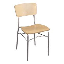 Round Pedestal Café Table and Wooden Café Chair Set - Chair - Natural oak