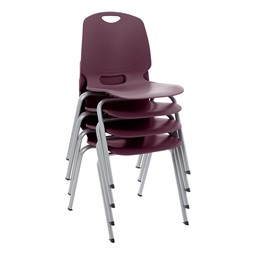 Academic Stack Chair - Eggplant - Stacked