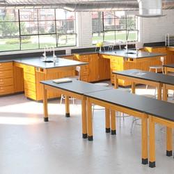 Metal Lab Stool w/ Backrest - Lab Setup