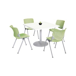 Four Energy Series Perforated Back Stack Chairs, Lime Green, at a table