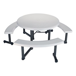 Round Picnic Table w/ Adjustable Benches
