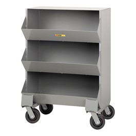 Welded-Steel Mobile Storage Bin - Shown w/ three compartments