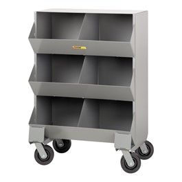 Welded-Steel Mobile Storage Bin – Six Compartments