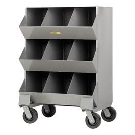 Welded-Steel Mobile Storage Bin – Nine Compartments