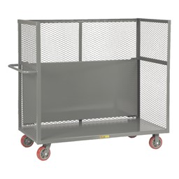 Bulk Handling Truck w/ Mesh Sides & Shelf (dropped down)