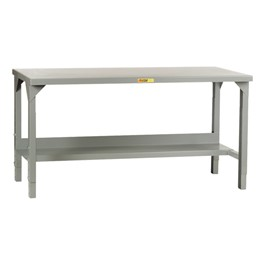 Adjustable-Height Welded Steel Workbench w/ Shelf