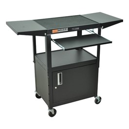 Compact Steel Computer Cart w/ Cabinet and Drop Leaves