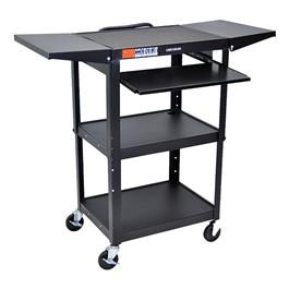 Compact Steel Computer Cart w/ Drop Leaves - Black