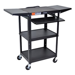 Compact Steel Computer Cart w/ Drop Leaves - Black