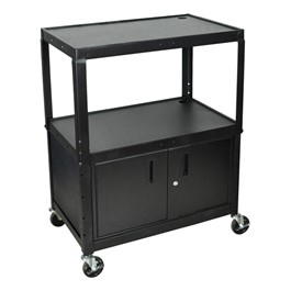 Extra-Large Adjustable Steel AV Cart w/ Cabinet