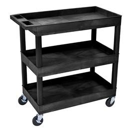 """Multi-Purpose Tub Cart w/ Three Tub Shelves (35 1/4"""" W) - Black"""