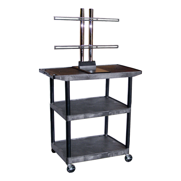 Luxor Plastic Flat Panel Cart w/ Three Shelves