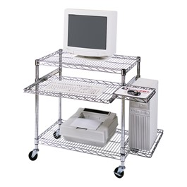 Adjustable Wire Mobile Computer Cart