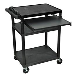 """Plastic AV Cart w/ Front Pull-Out Shelf (34\"""" H)"""