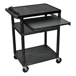 "Plastic AV Cart w/ Front Pull-Out Shelf (34"" H)"