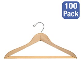 Natural Blonde Hardwood Coat Hanger w/ Trouser Bar - Pack of 100