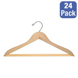 Natural Blonde Hardwood Coat Hanger w/ Trouser Bar - Pack of 24
