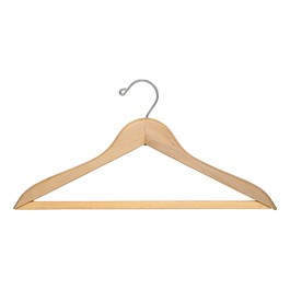Natural Blonde Hardwood Coat Hanger w/ Trouser Bar - Individual