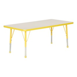 Rectangle Activity Table - Gray Nebula top & yellow edge band, legs & ball glides