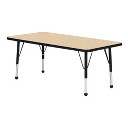Rectangle Activity Table - Maple top & black edge band, legs & ball glides