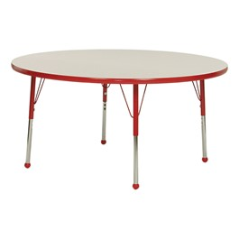 Round Activity Table - Gray Nebula top & red edge band, legs & ball glides