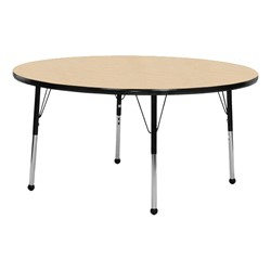 Round Activity Table - Maple top & black edge band, legs & ball glides