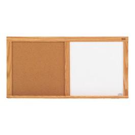 Markerboard/Corkboard Combination Board w/ Wood Frame