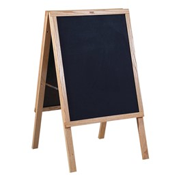 "Black Chalkboard Café Sidewalk Sign (22""W x 36\""H) - Oak Frame"