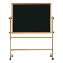 Double-Sided Mobile Chalkboard w/ Wood Frame - Black Chalkboard
