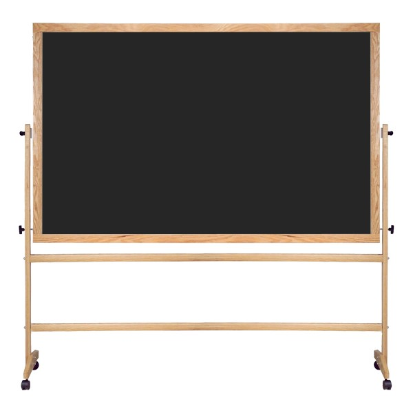 Double-Sided Mobile Chalkboard w/ Wood Frame - Black Chalkboard