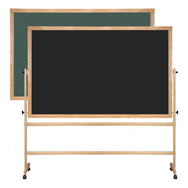 Double-Sided Mobile Chalkboard w/ Wood Frame - Green and Black Chalkboard