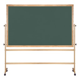 Double-Sided Mobile Chalkboard w/ Wood Frame - Green Chalkboard