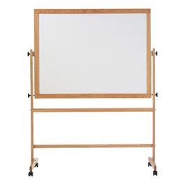 Double-Sided Portable Magnetic Dry Erase Board w/ Wood Frame