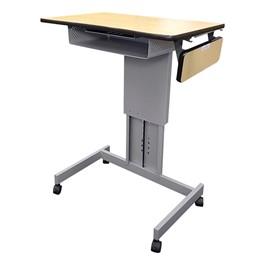 Focus Pneumatic Sit-to-Stand Desk XT w/ Book Box & Side Shelf