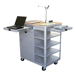 Vizion Multimedia Cart w/ Steel Doors - Maple