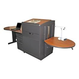 Teacher\'s Desk w/ Media Center & Lectern - Steel Doors - Cherry laminate